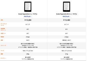 kindle paperwhite比較