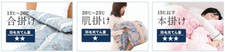 昭和西川の羽毛布団リフォームでは、羽毛布団タイプは3つ